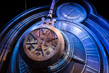 59472849 - leavesden, london - march 3 2016: a giant clock in hogwarts as featured in harry potter and the prisoner of azkaban, the warner brothers studio tour 'the making of harry potter'.
