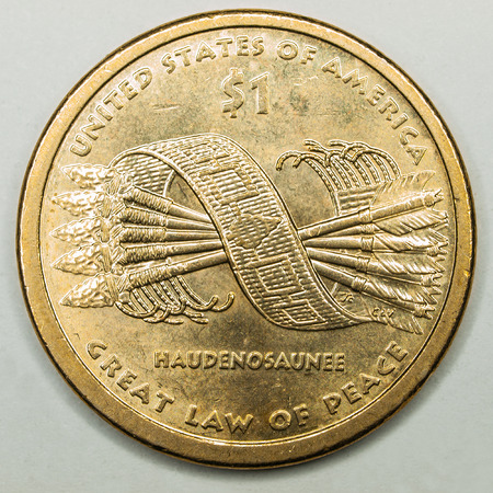 65567133 - us gold dollar coin featuring great law of peace haudenosaunee